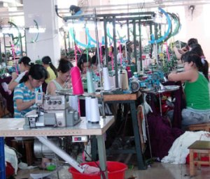 Workers in a clothing factory