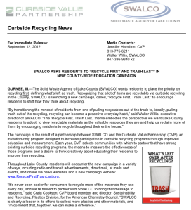 "SWALCO's announcement of their ""Recycle first. Trash last."" campaign"