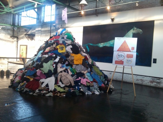 This was the pile of clothing that was in the middle of King Plow Arts Center during the Atlanta conference. (Photo by Shamontiel L. Vaughn)